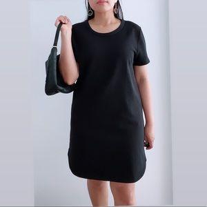 Lush Black Short Sleeve Straight Mini Dress